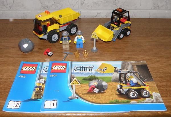 lego city 4201 bagger mit kipplaster mit figuren und anleitung 100 komplett ebay. Black Bedroom Furniture Sets. Home Design Ideas